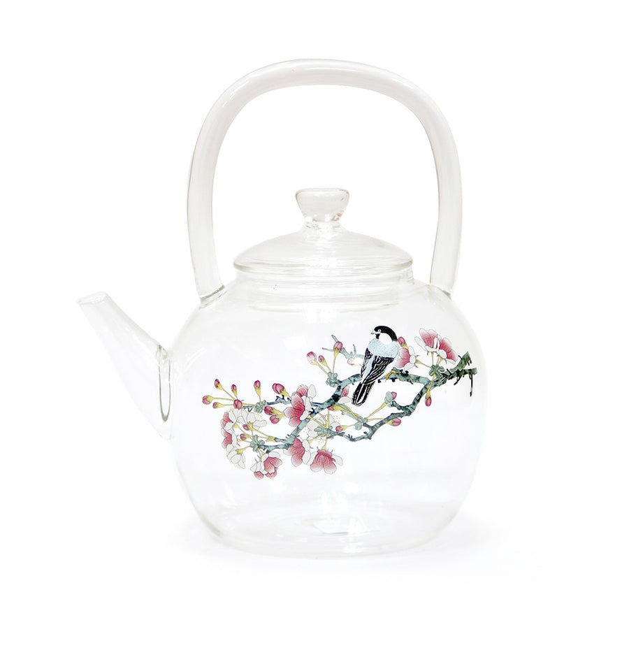 Plum Flower Glass Teapot (800ml)
