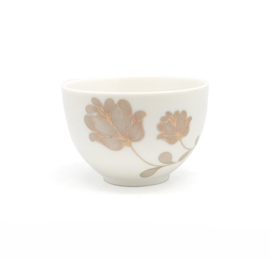Golden Flower Porcelain Tea Cup (90ml)