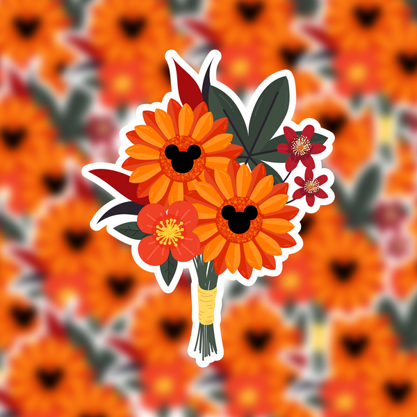 Fall Flower Arrangement Hidden Mickey Sticker