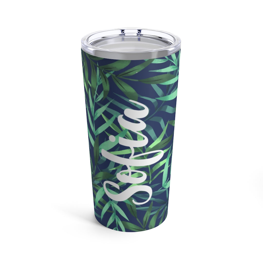 Tropical Blue Leaves Personalized Tumbler 20oz