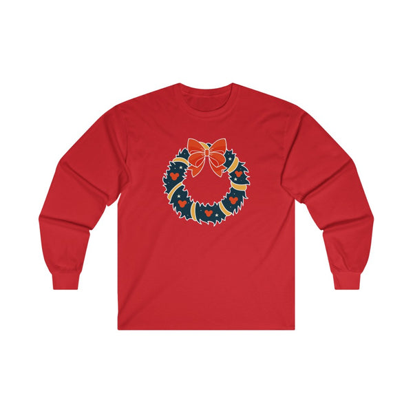 Mickey Christmas Wreath Long Sleeve Tee