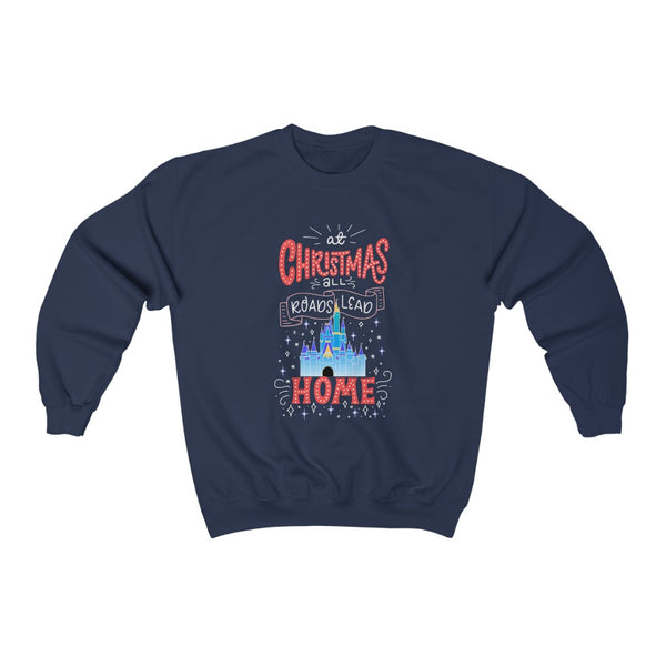 At Christmas all roads lead Home Magic Kingdom Unisex Heavy Blend™ Crewneck Sweatshirt