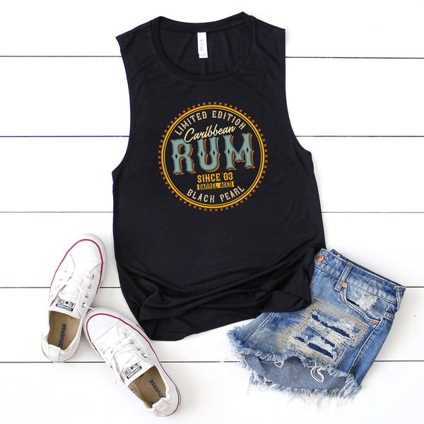 Pirates Caribbean Rum Black Pearl Edition  Flowy Scoop Muscle Tank Top