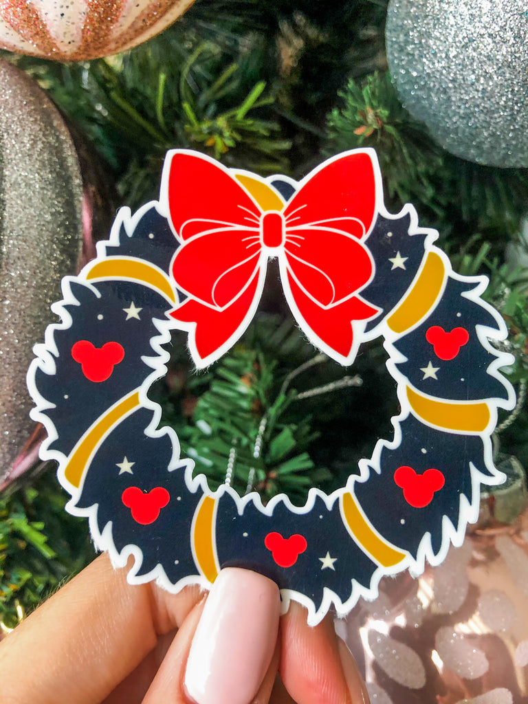 Mickey Christmas Wreath Sticker