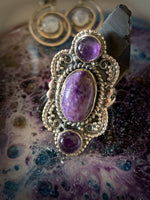 DREAMY CHAROITE & AMETHYST STERLING SILVER RING ~ For Self Confidence and Spiritual Wisdom