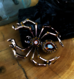 ARACHNE LACEMAKER ~ Spider Pin in Antiqued Copper Finish
