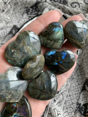 LABRADORITE HEART ~ To Raise Consciousness, Enhance Clairvoyance, and Connect to Spirit Guides