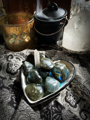 LABRADORITE CRYSTAL HEART ~ For Raising Consciousness, Enhancing Clairvoyance, and Connecting to Spirit Guides