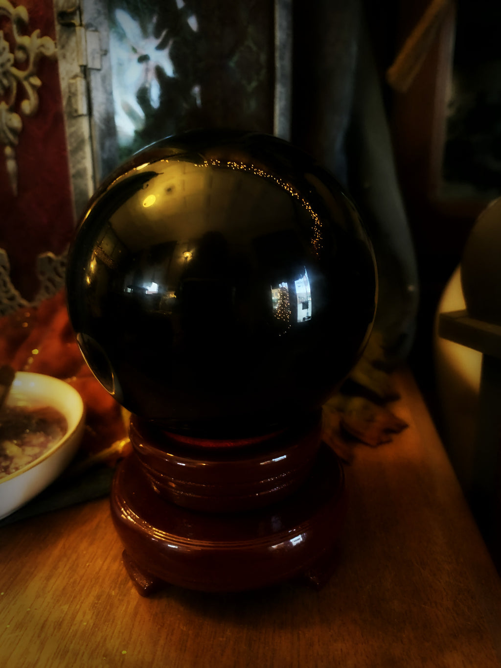 OBSIDIAN GLASS GAZING GLOBE ~ For Scrying and Spirit Connection