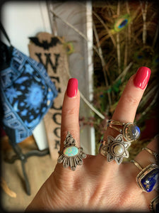 FIERY OPAL & STERLING SILVER RING ~ For  Self Expression and Releasing Inhibitions