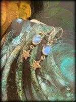 RAINBOW MOONSTONE & STERLING STAR EARRINGS ~ For Goddess Energy, Elemental Connection, and Spiritual Healing