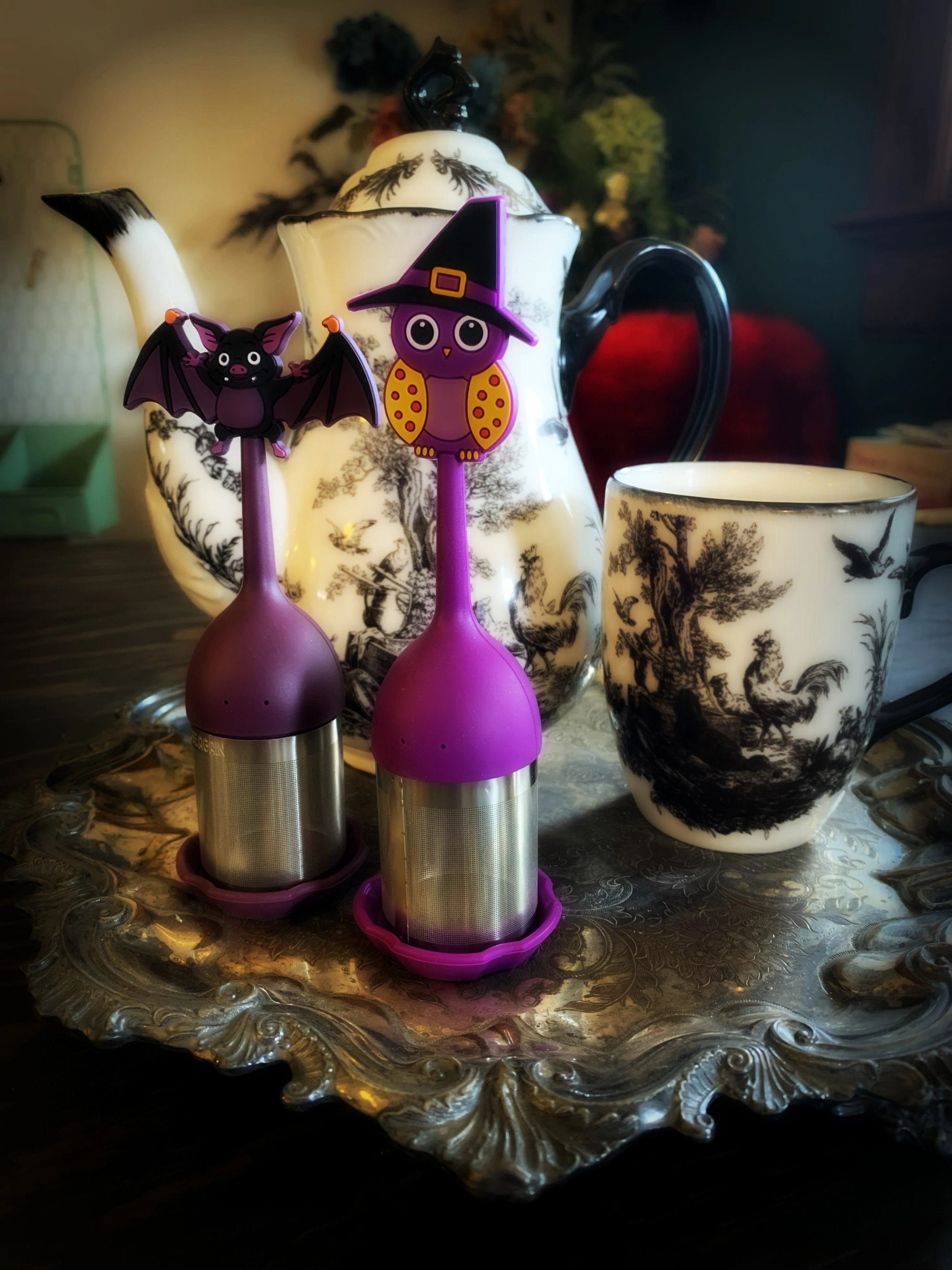 Tea Infusers - Witchy Owl or Bat Silicone and Stainless Steel
