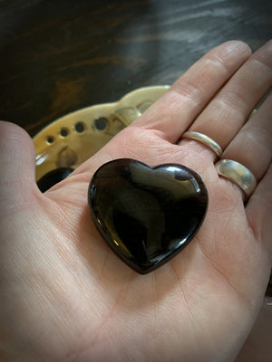 Midnight Lace Obsidian Crystal Heart
