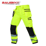 Bauskydd Hi Vis Yellow Work Pants/Trousers With Knee Pads (XS - 3XL)