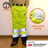 Mens Hi-Vis Pants Safety Workwear Winter Pant Waterproof Rain Trouser 3M Reflective Stripes Yellow & Orange EN ISO 20471 ID674
