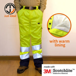 Mens Hi-Vis Pants - Safety Waterproof Reflective Workwear (Yellow & Orange)