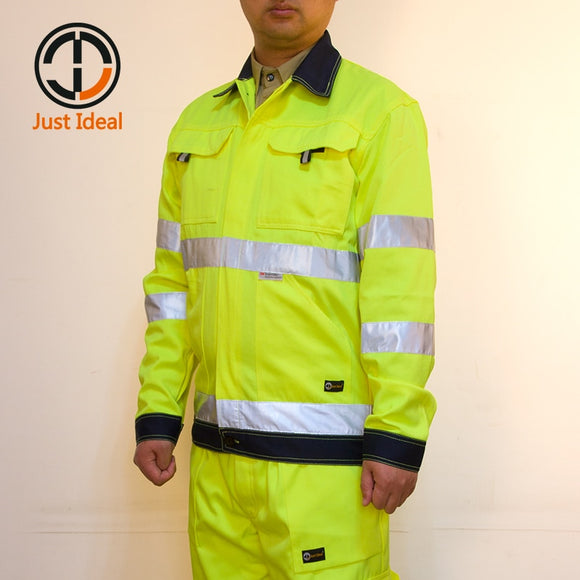 Mens Hi-Vis High Visibility Safety Bomber Jacket 3M Reflective Stripes Yellow & Orange Coat Outwear All Sizes XS TO 6XL ID680