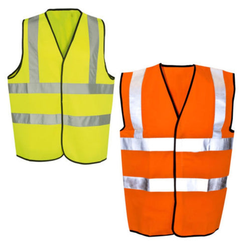 New Yellow Or Orange Hi Vis High Visibility Hi Viz Safety Vest High-Viz Safe reflective vest over shoulderNew