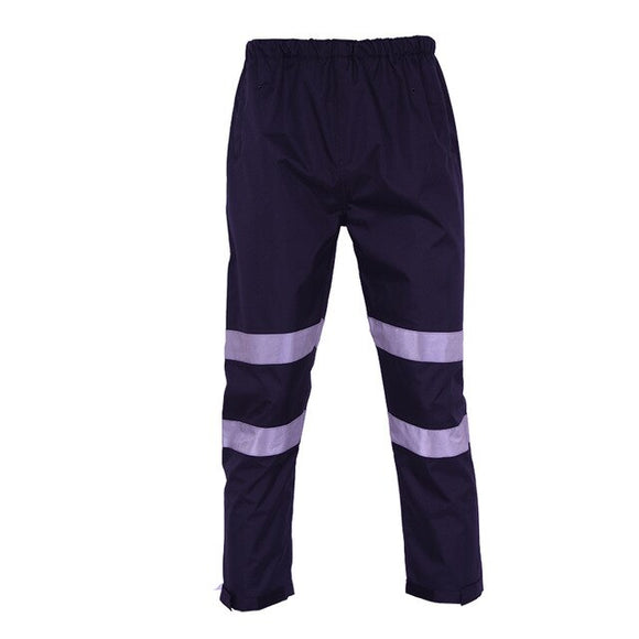 Casual Mens High Vis Safety Work Trousers Dark Blue (Quick Dry & Reflective)