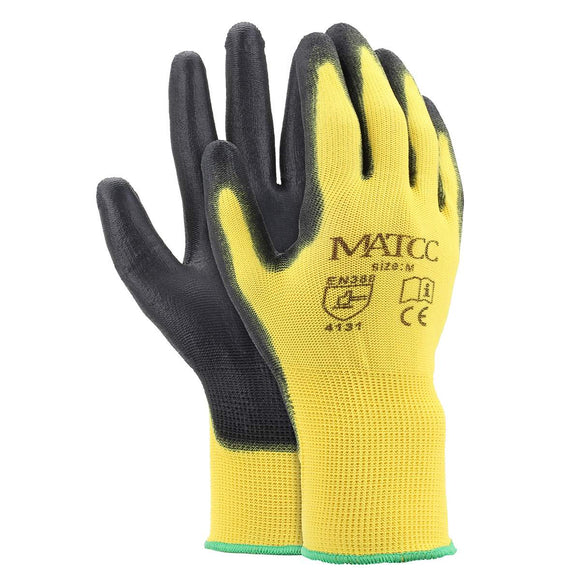 12 x Yellow PU Nitrile Safety/Work Gloves