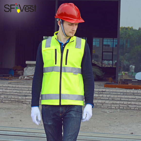 SFVEST BUILDER CONSTRUCTION REFLECTIVE WAISTCOAT ELASTIC OXFORD 3M SCOTCHLITE TAPES WORK VEST WITH ID POCKETS MENS FREE DELIVERY