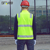 SFVEST Builder Construction Reflective High Vis Waist Coat Jacket