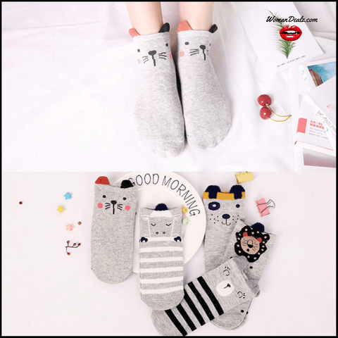 CUTE COTTON CAT ANKLE SOCKS