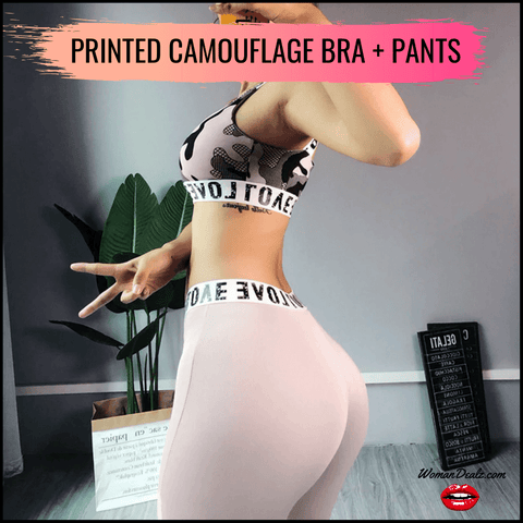 PRINTED CAMUFLAGE SPORTS BRA + PANTS