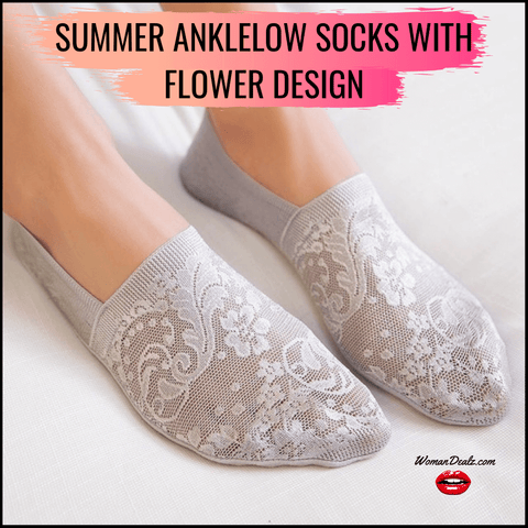 Summer anklelow Socks with Flower Design