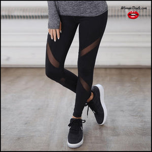 Sexy Leggings with Gothic Insert Mesh Design
