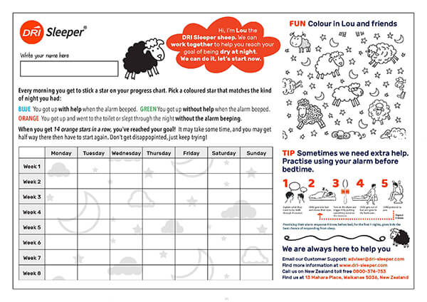 DRI Sleeper Reward Chart for kids