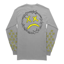 "Load image into Gallery viewer, GREY LONG SLEEVE - ""UNHAPPY Barbed Wire"" Grey Long Sleeve"