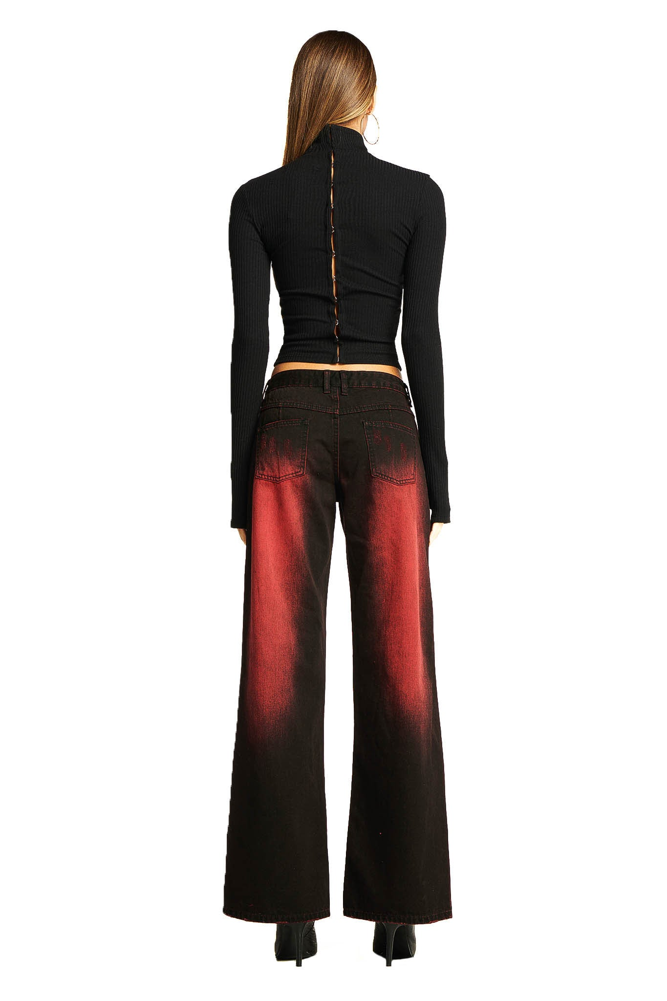 RENIA TOP - BLACK/RED