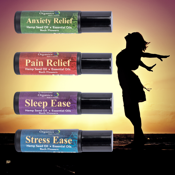 STRESS EASE - Organic Hemp Seed Oil w Essential Oils & Bach Flowers