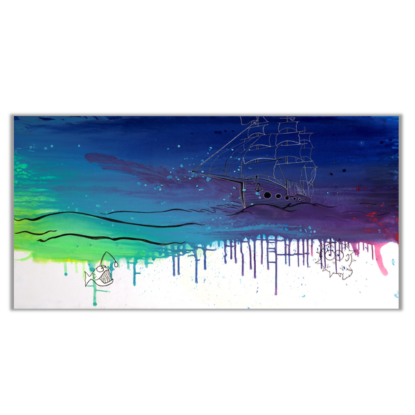 Original Painting of Vibrant Abstract Fish and Ship