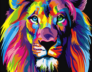 Frameless Colorful Lion Animals Abstract Painting DIY