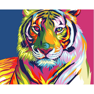 Frameless Colorful Tiger Animals DIY Painting By Numbers