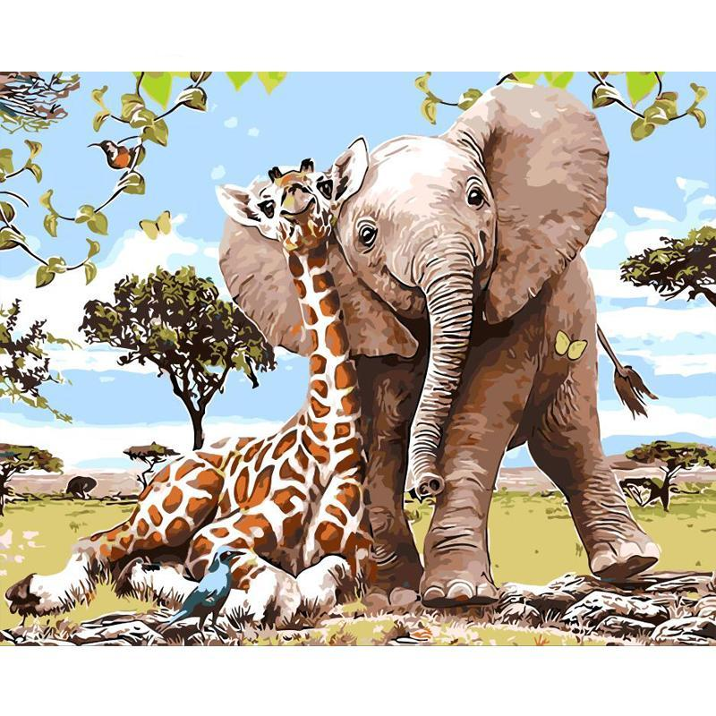 Frameless Elephant Giraffe DIY Painting By Numbers