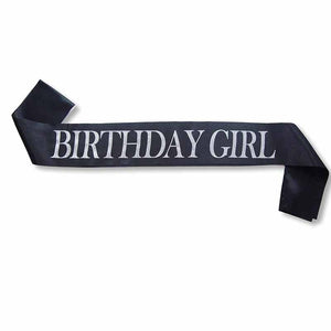 Birthday Girl Glitter Satin black Sash