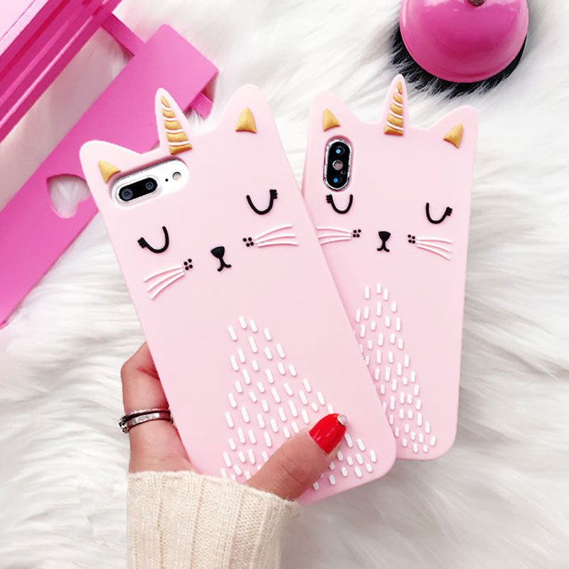 3D Pink Cat Soft Silicone Case For iPhone 6-X