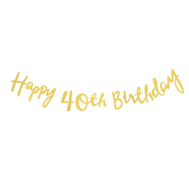 Happy Birthday Banner 18th 21st 30th 40th 50th (Gold, Rose Gold