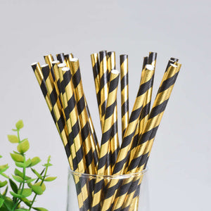 Gold Black Disposable Tableware Set