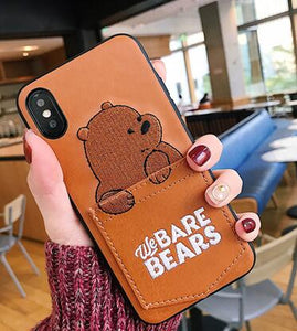 Leather Cartoon Bear Phone Case