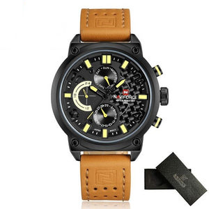 NAVIFORCE Casual Quartz Watch Men Leather
