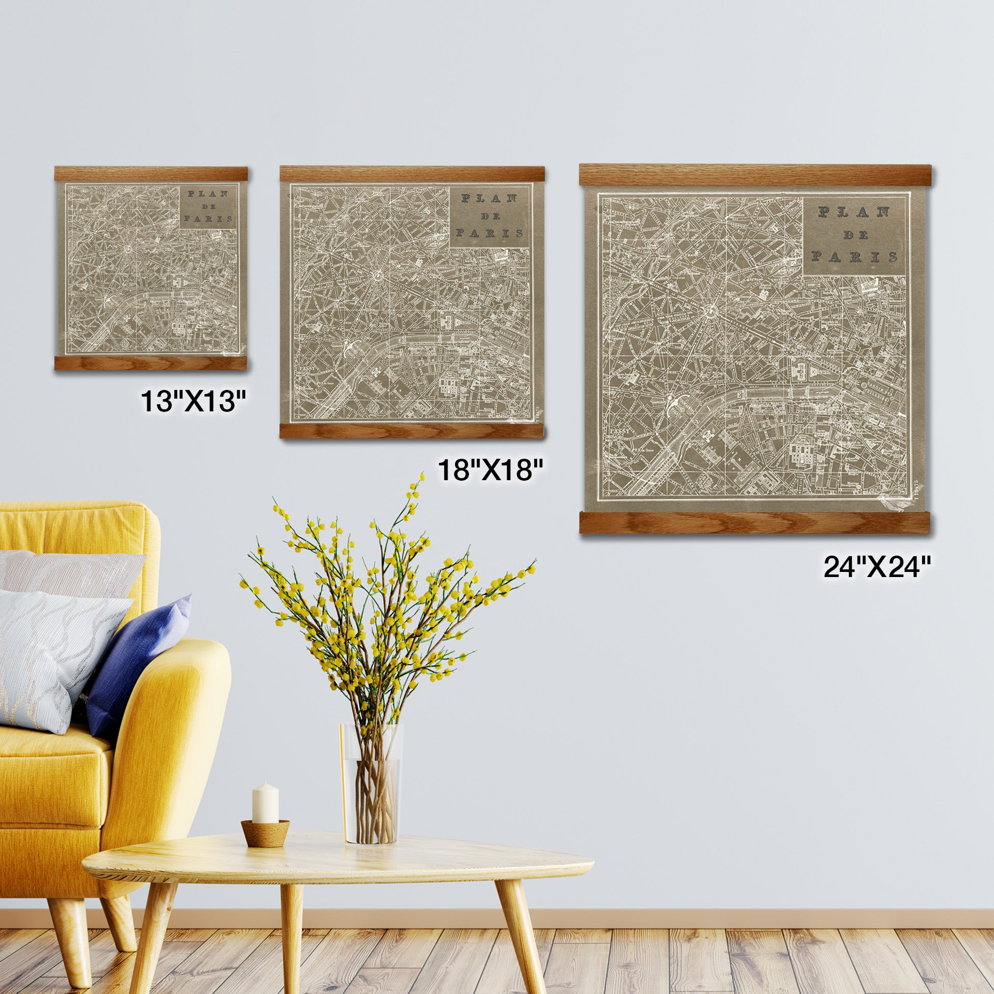Blueprint Map Paris Square Taupe