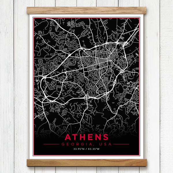 Athens Georgia University of Georgia Canvas Map Framed Wall Art