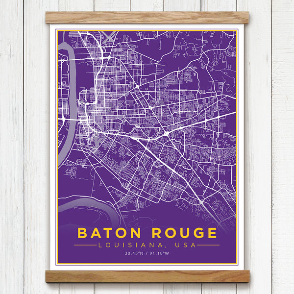 Baton Rouge, LA Canvas Map