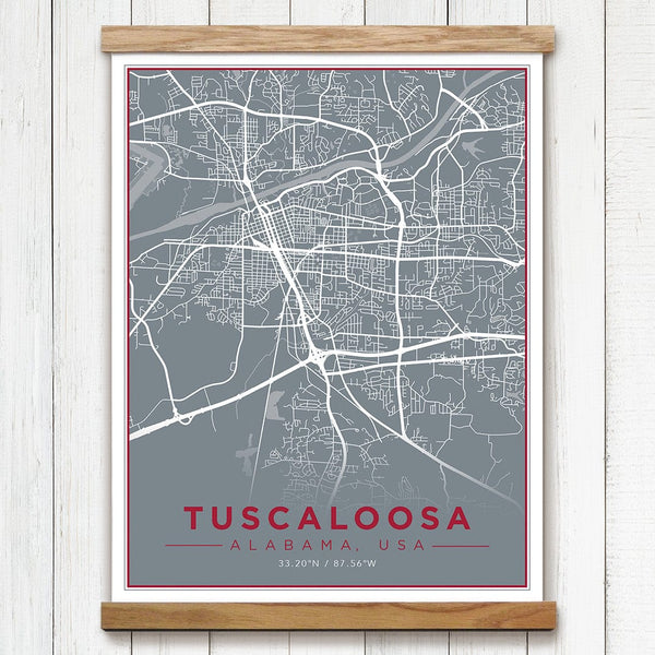 Tuscaloosa, AL Canvas Map