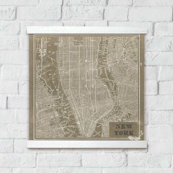Blueprint Map New York Taupe Artwork Wall Decor