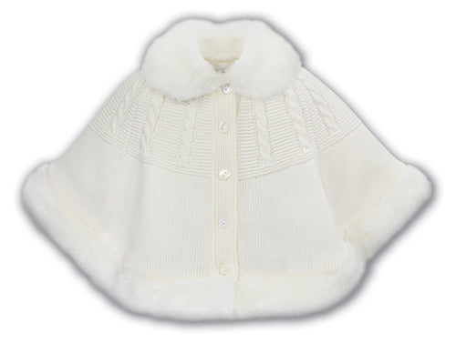 Beautifully knitted Sarah Louise Poncho with white faux fur trim and collar